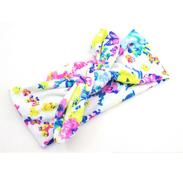 New Colorful Boho Newborn Toddler Headband Ribbon Elastic Baby Headdress Kids Hair Band Girl Bow Knot 2
