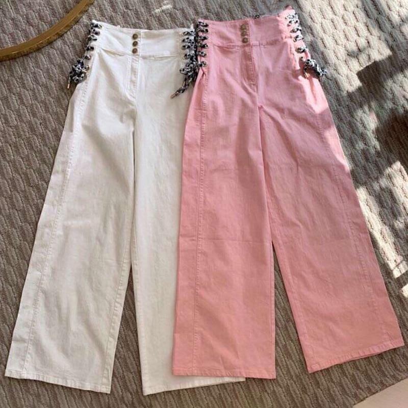 White De Ancho Con Casuales Suelta Alta Pantalones Elegante pink Blanco Calidad Pierna Bolsillos Botón La Cintura Mujer 5EZETq