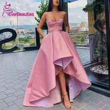 Asymmetrical Evening Dresses Satin Robe De Soiree 2019 Sweetheart Party Formal Dress
