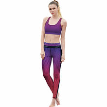 Women Yoga Set Gym Fitness Clothes Sports Bra+Pants Running Tights Jogging Workout Yoga Leggings Sport Suit Gradient Style