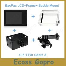 Gopro LCD Gopro hero3/3 +/Hero4 ecran LCD BacPac affichage + housse de porte arrière + cadre dextension + fixation boucle pour accessoires Gopro