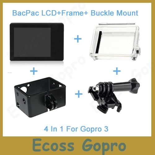 Gopro lcd gopro hero3/3 +/hero4 lcd scherm display bacpac + achterdeur case cover + extension frame + gesp mount voor gopro accessoires