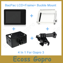 Gopro lcd תצוגת מסך lcd bacpac gopro hero3/3 +/hero4 + דלת אחורית כיסוי מקרה + מסגרת + הארכת אבזם הר לgopro אבזרים