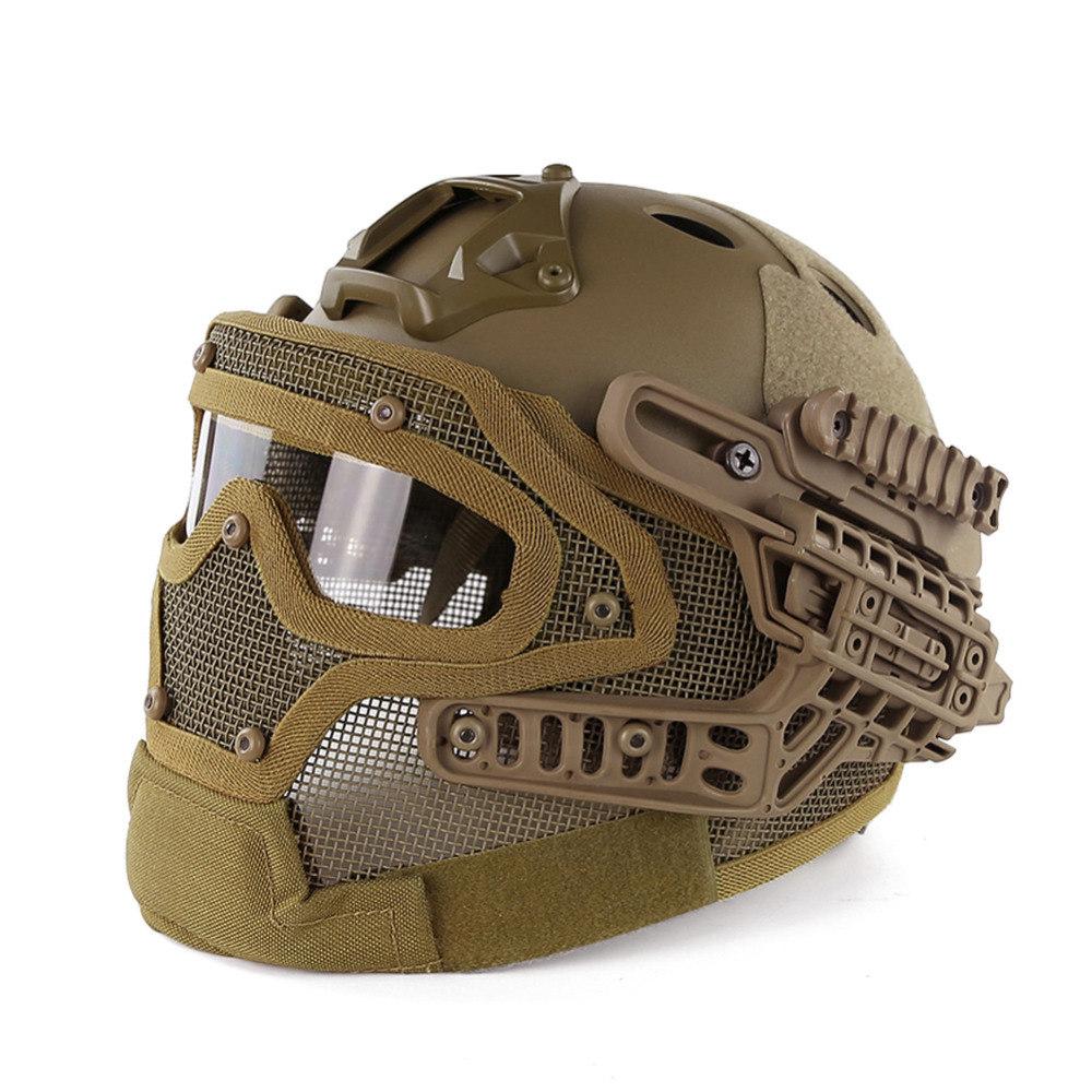 Tactical Helmet BJ PJ MH ABS Mask with Goggles for Military Airsoft Army Paintball WarGame Motorcycle Cycling Hunting TAN tactical wargame motorcycling helmet w eye protection glasses grey black size l7