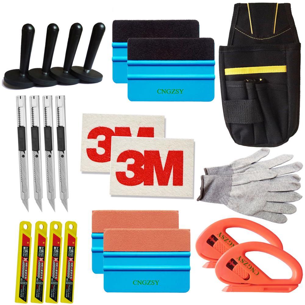 CNGZSY Standard Pro trousse à outils Combo housse de voiture en vinyle sac raclette rasoir gant 4 aimant art couteau lames 3M laine daim raclette K27