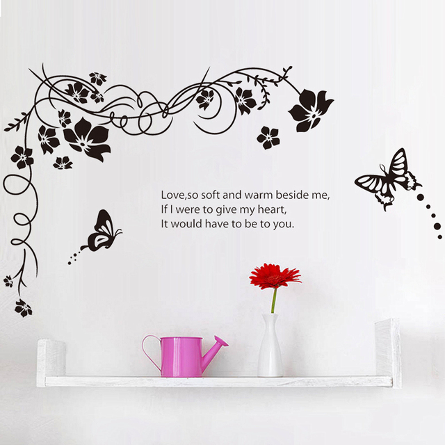 Classical Black Flowers Vine Butterflies Quotes Wall Sticker Tv