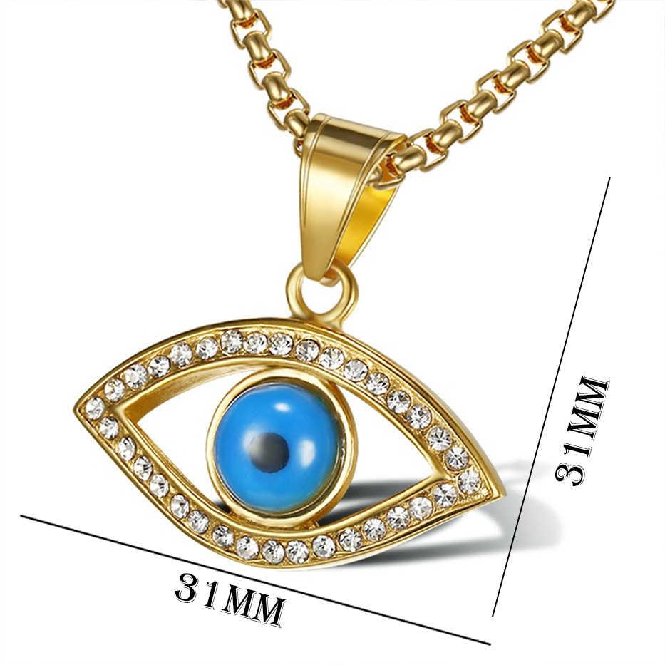Frauen & männer Charme Zirkonia Auge Anhänger Halskette Blau Türkische Amulett Schmuck