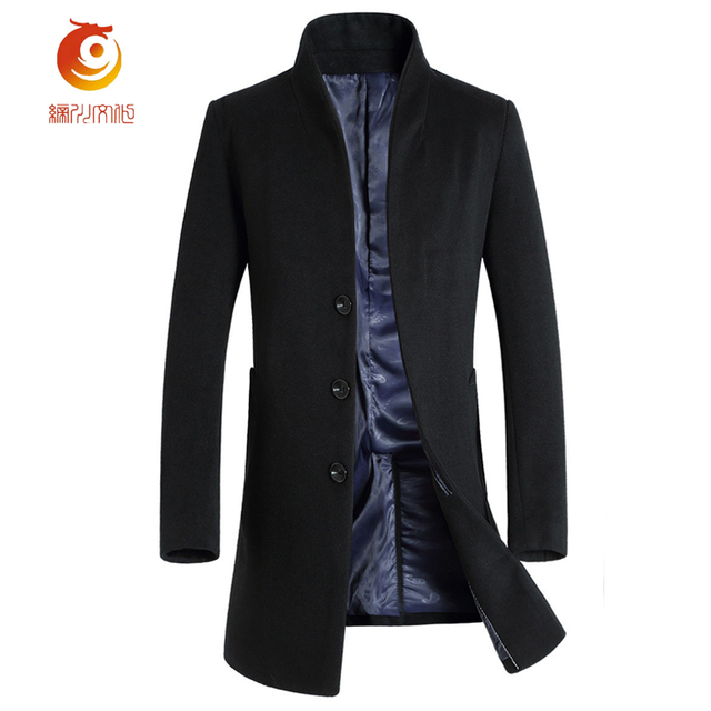2017 New Light Luxury Men's Wool Jacket Winter Spring Blend Men Woolen Coats Long Jackets and Windbreaker Man Warm Wool Overcoat
