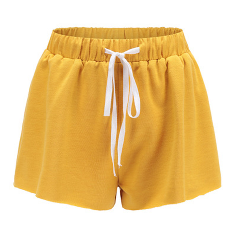 Causal Solid Color Women Shorts Drawstring Candy Color Loose Short Pants Loose Female Summer Shorts