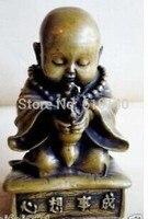 Mosiądz mały bonze godliness posąg Buddy w Posągi i rzeźby od Dom i ogród na