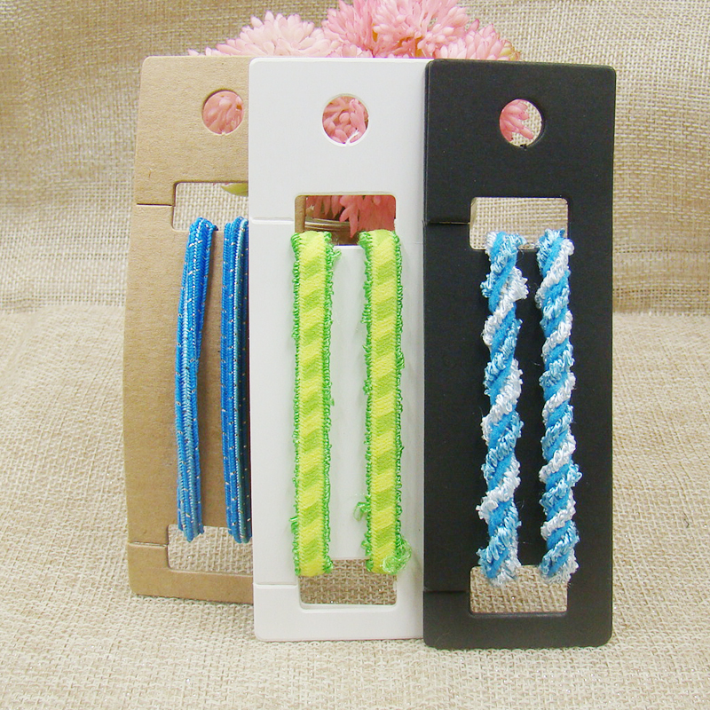 11.7*3.8cm  White/black/kraft Hairband Card Blank Hanger Hair Accessories Display Card 100pcs With 100 Oppbag Matching