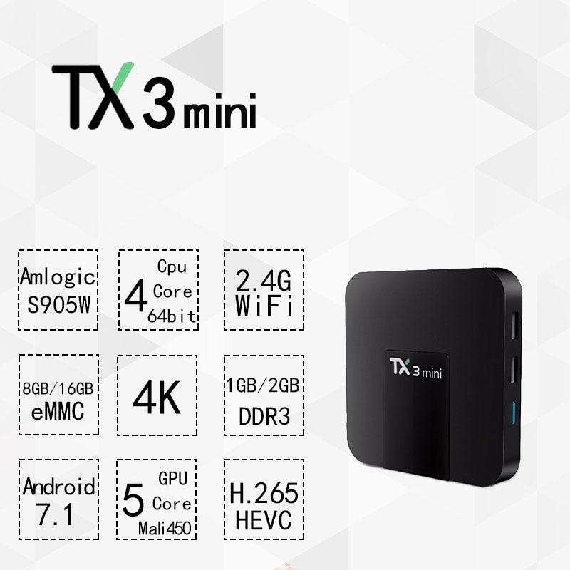 TX3mini Amlogic S905W Android 7.1 TV Box Quad Core 1GB+8GB 2GB+16GB 4K HDMI H.265 WiFi Kody 17.3 Smart TV Media Player PK X96
