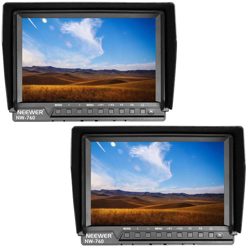 Neewer 2 Set NW-760 Field Monitors Ultra-thin 7 inches IPS Screen 1080P Full HD 1920x1200 Pixels HDMI Focus Assist 16:10 Display neewer 7 inches hd on camera field monitor with remote control hdmi signals ips screen 1280x800 resolution for canon nikon