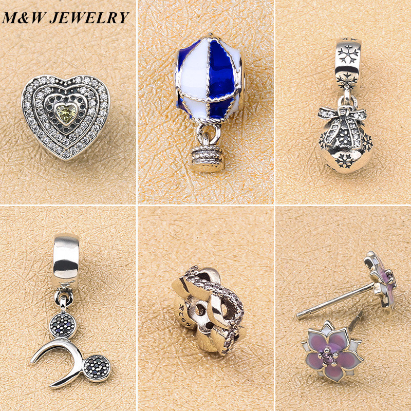 M&W JEWELRY S925 Sterling Silver Fashion Beaded Pearls Porcelain Porcelain Hot Air Balloon Pendant Bell Pendant DIY Snake Chain