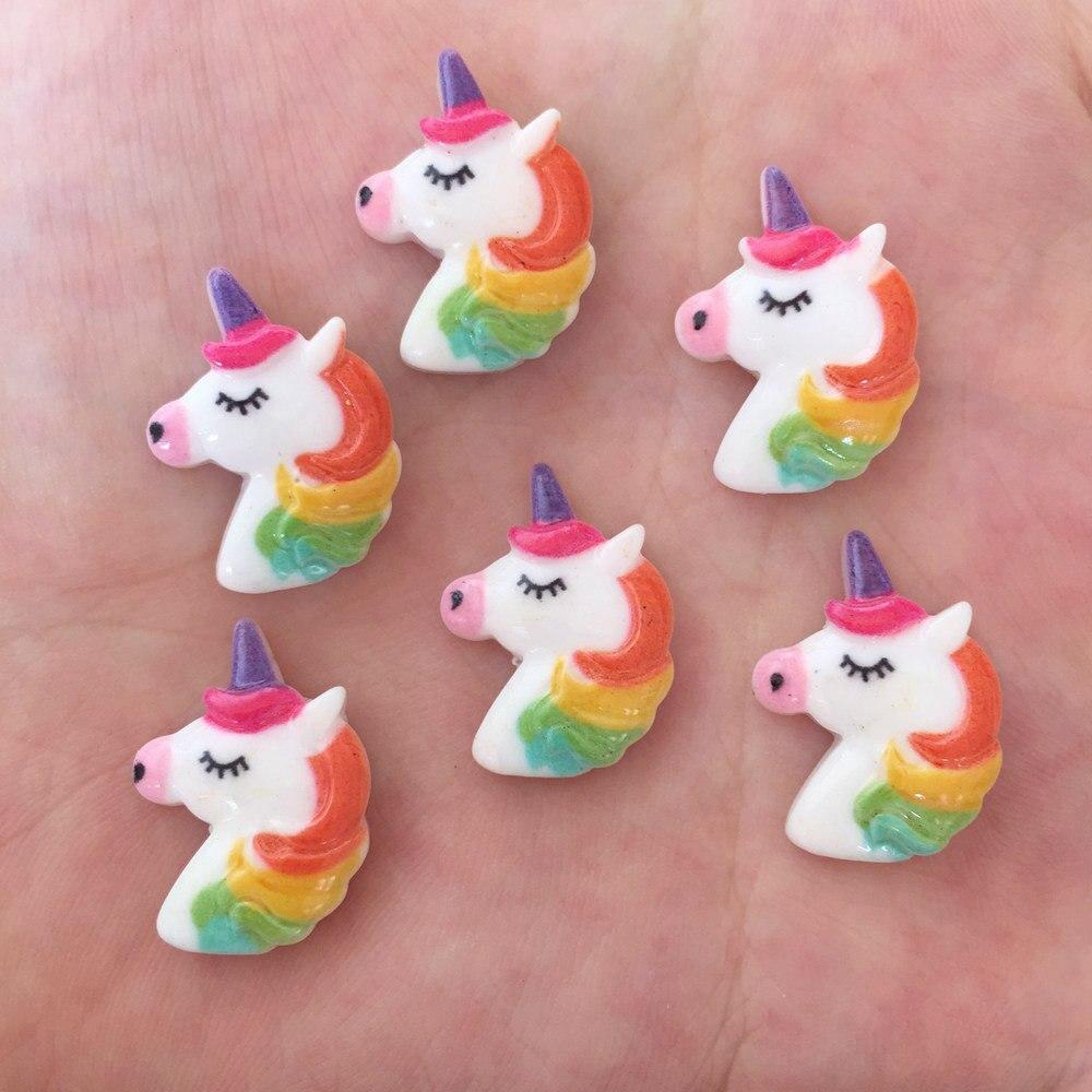 Resin Lovely Mini Colorful Porcelain Unicorn Flatback Cabochon Stone 10PCS Scrapbook DIY Crafts OF366