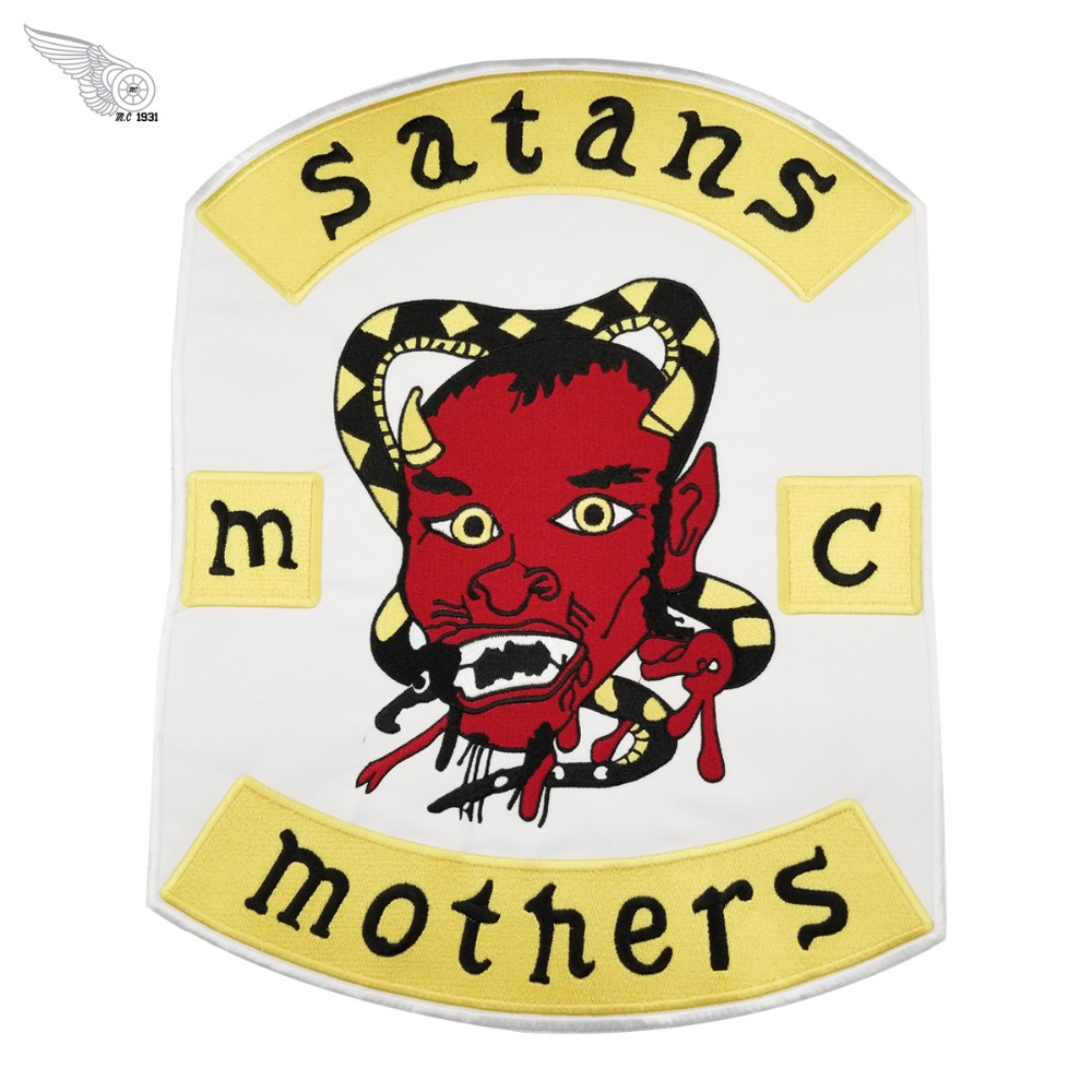 Satans mothers <font><b>mc</b></font> customized free shipping innovative garment application high quality embroidered <font><b>patch</b></font> image