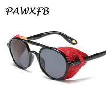 PAWXFB 2019 New Fashion Steam punk Sunglasses Women Men PU Leather decoration Windproof Frame Sun Glasses Female Gafas de sol