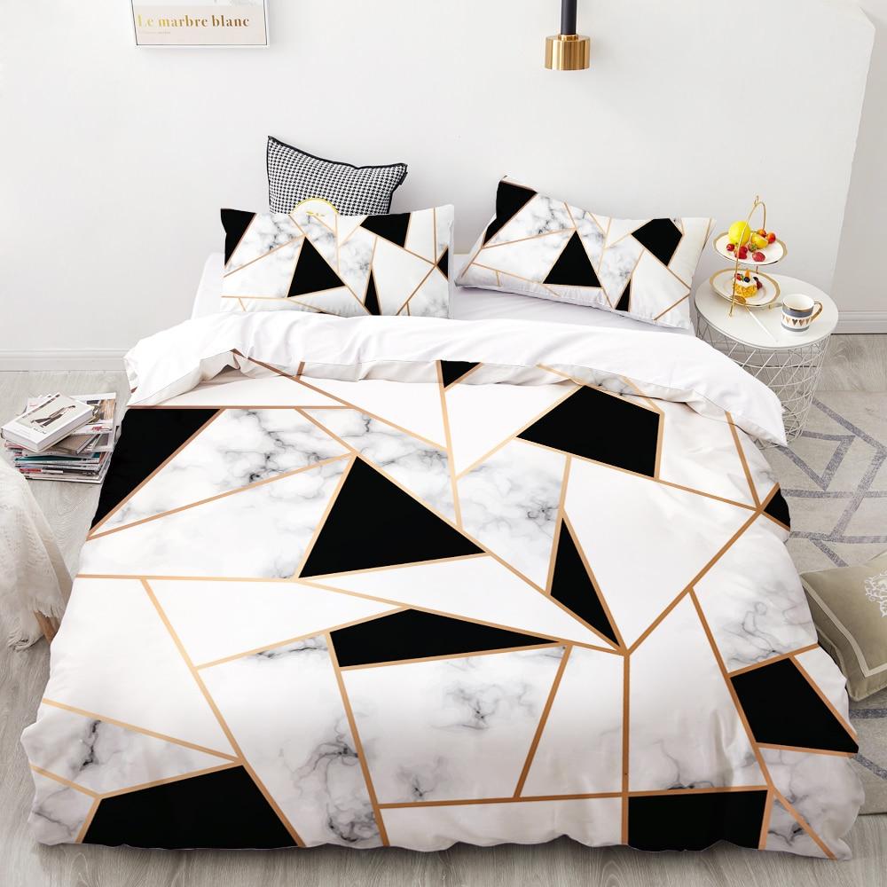 3D HD Digital Printing Custom Bedding Set,Duvet Cover Set Double Queen Cal King,Wedding Bedclothes Black Marble Drop Shipping