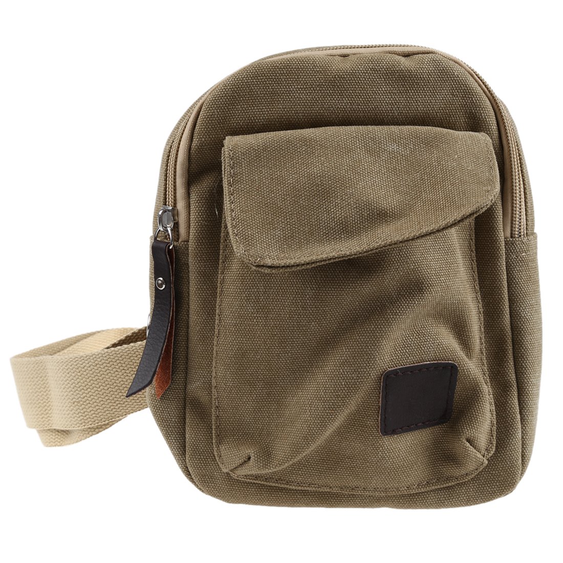 And Good Quality PU Casual Small Canvas Vintage Shoulder Crossbody Bicycle Bag Messager Bags-Khaki