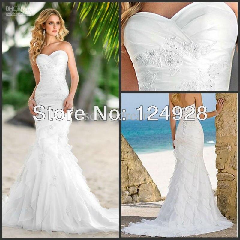 New Cheap 2012 Beach Sweetheart Fold Mermaid Wedding Gowns