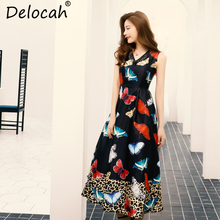 Delocah Women Summer Dress Runway Fashion Designer Sexy V Neck Sleeveless Holiday Party Butterfly Print Vintage Ball Gown Dress