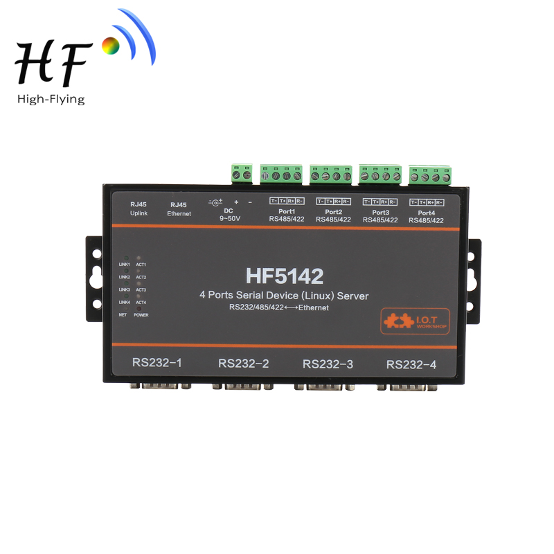 Official Industrial HF5142B 4 Ports RJ45 RS232/485/422 Serial To Ethernet Free RTOS Serial Server Converter Device