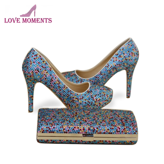 2018 Handmade Blue Mix Color Crystal Cinderella Prom Party Shoes with Clutch  Luxury Crystal Wedding Party High Heels with Bag 295ca2e4a8e5