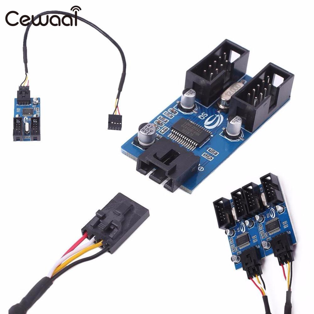 Cewaal Motherboard USB 9Pin Interface Header Splitter 1 to 2 Extension Cable Adapter 9 pin rs232 to rs485 adapter interface converter black