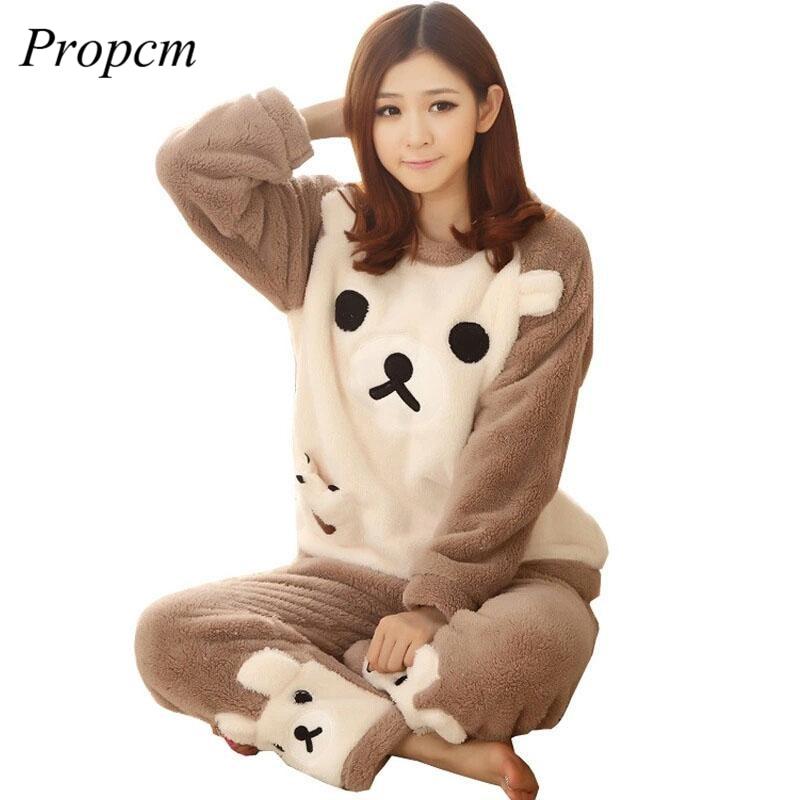 Women Pyjamas Sets Coral Velvet Suit Flannel Cartoon Bear Animal Pants  Winter Thick Warm Soft Cute Female Sleepwear Pajamas b59bc534d