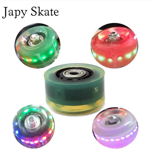1c95acffc43 Japy Skate Originele Licht Wielen Met Lagers Led Knippert Traditionele  Dubbele Rolschaatsen Wiel PU Ronde Roller