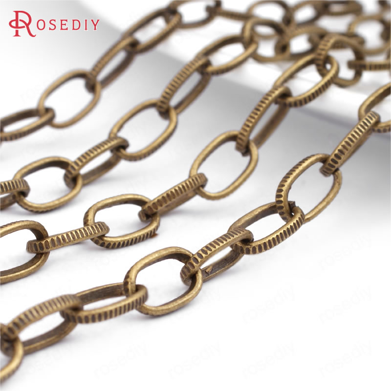 (25898)5 Meter Width 5MM Antique Bronze Iron Embossed Flat Oval Link Chains Necklace Chains Diy Jewelry Findings Accessories