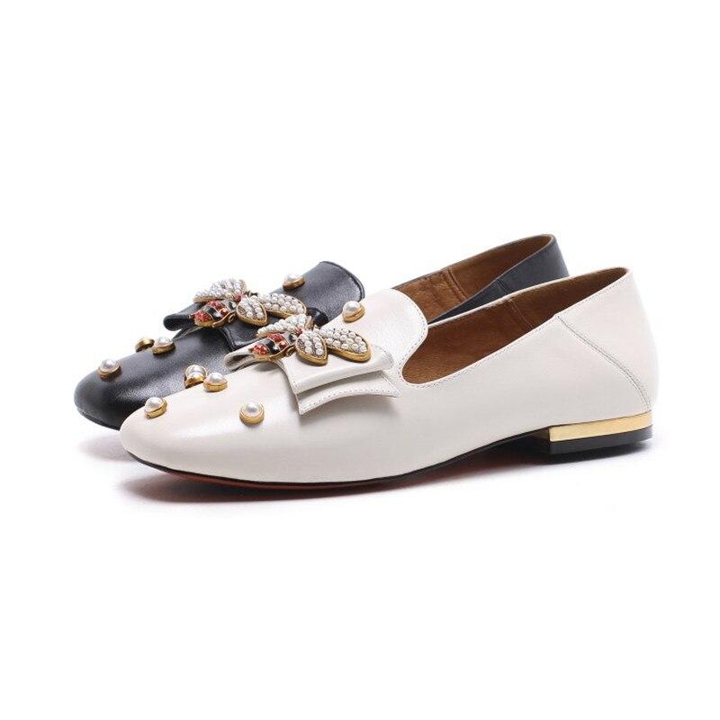 Euramerican Rond Haute Talon Chaussures fin Perle Faible Plates white Bout Femme Style Avec De Luxe Vache Stylesowner Black Cuir En Slip Casual Sur 6zxqwdAn