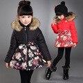 Crianças Jaquetas Meninas De Pele Casaco de Inverno Meninas Outerwear Casaco Trench Coat Crianças Blusão Com Capuz Snowsuits Flor Neve Desgaste