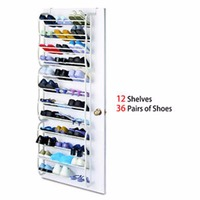 4 Layers 12 Pairs of Shoes Rack PP plastic Spray Iron Over the Door Hanging Shoes Organizer Storage Holder Closet box stretcher
