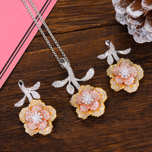 SisCathy Classic Flower Long Chain Women Necklace Big Drop Statement Earrings 3Tone CZ Wedding Bridal Jewelry Set for