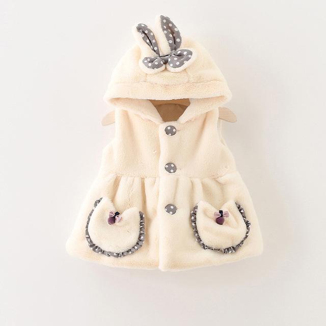 Atacado 2016 inverno ponto onda orelhas de coelho crianças bebê BOLSO do COLETE quente colete com capuz casaco de roupas meninas do bebê recém nascido