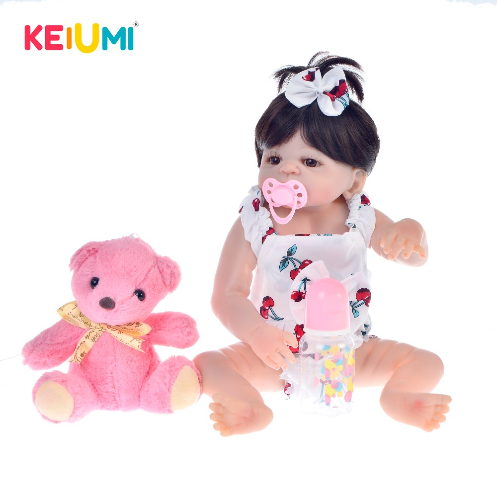 KEIUMI Lovely Special Reborn Baby Doll Toys Realistic Full Silicone Reborn Doll For Girl Christmas Xmas