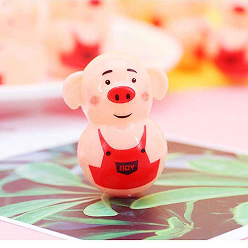 OOTDTY 6pcs Cute Pig Tumbler Toy Party Bag Filler Favors Gift Kids Education Toy Gadget