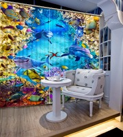 The underwater world 3D Kids Room Curtains Blackout Curtains For Living Room dolphin Hotel Office Cafe Window Treatments