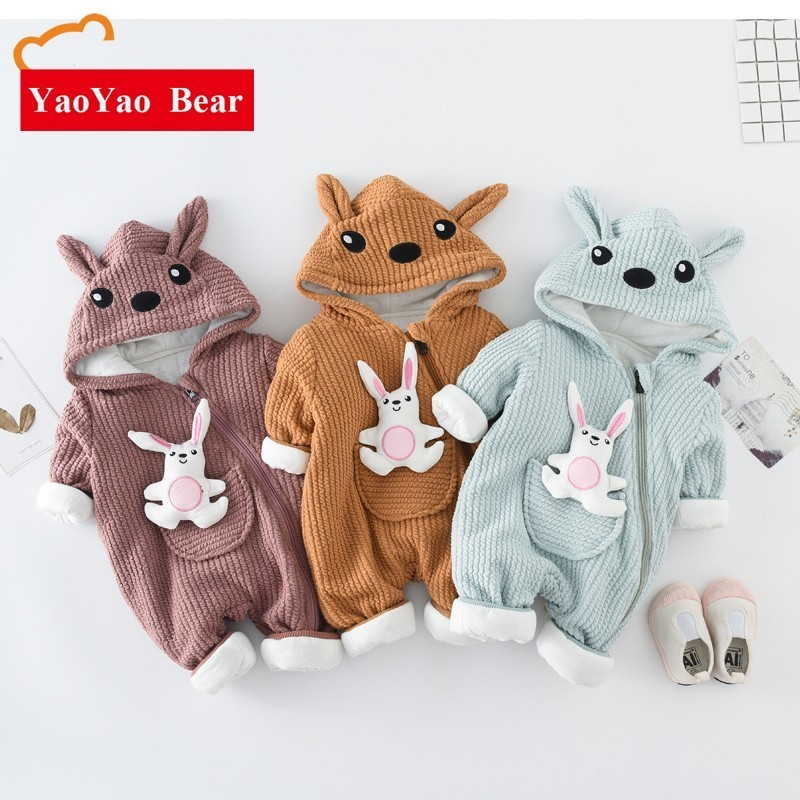 Rompers   For Children Autumn And Winter New Pattern Baby Toddler Cotton Warm Clothes Ins Cartoon Rabbit Boy Creeping Jumpsuit