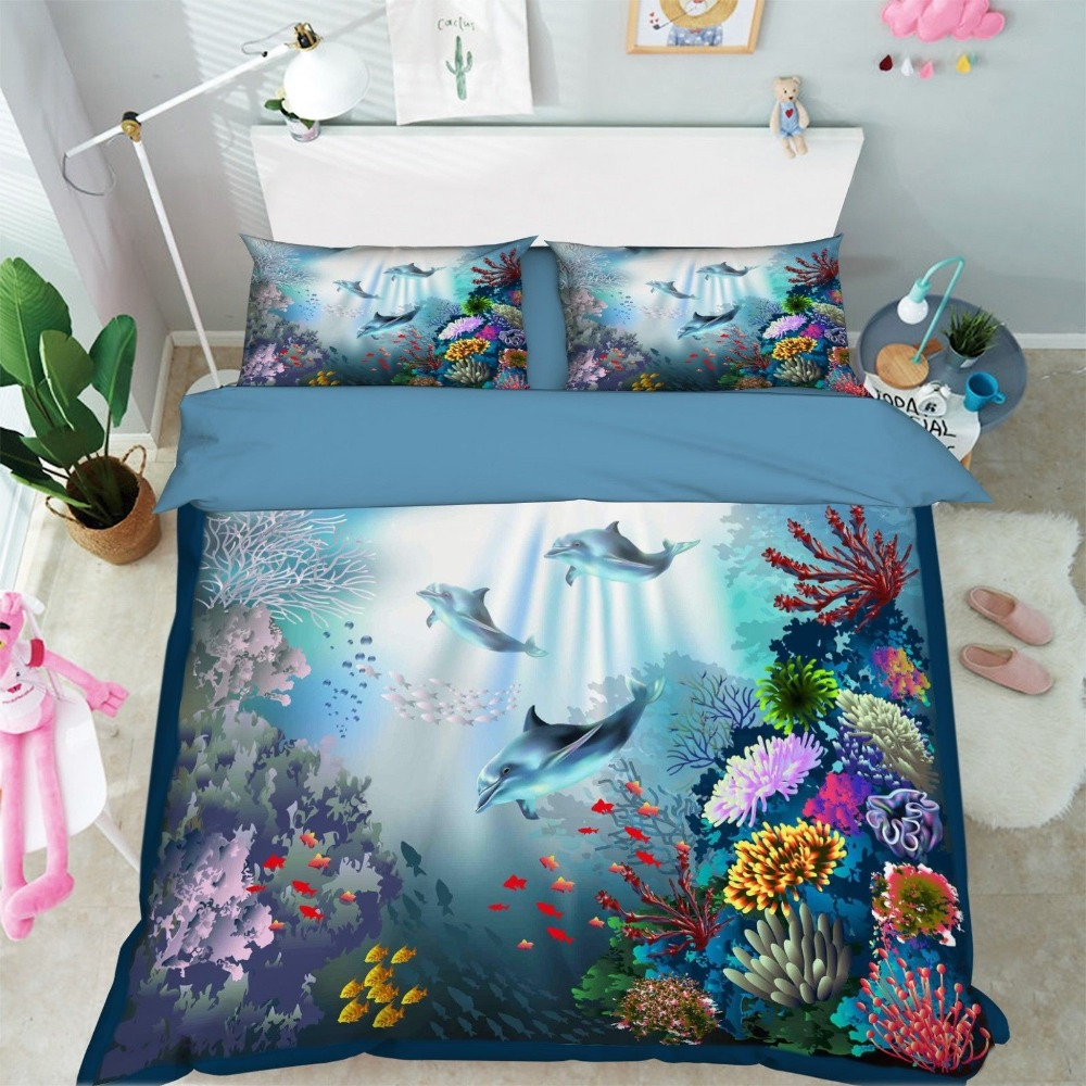 3D Ocean Dolphin 575 Bed Pillowcases Quilt Duvet Cover Set  3D Ocean Dolphin 575 Bed Pillowcases Quilt Duvet Cover Set