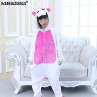 LAISIDANTON Blue Pink Unicornio Pajamas Sets Winter Long Sleeves Hooded Sleepwear For Children Kids Rainbow Star