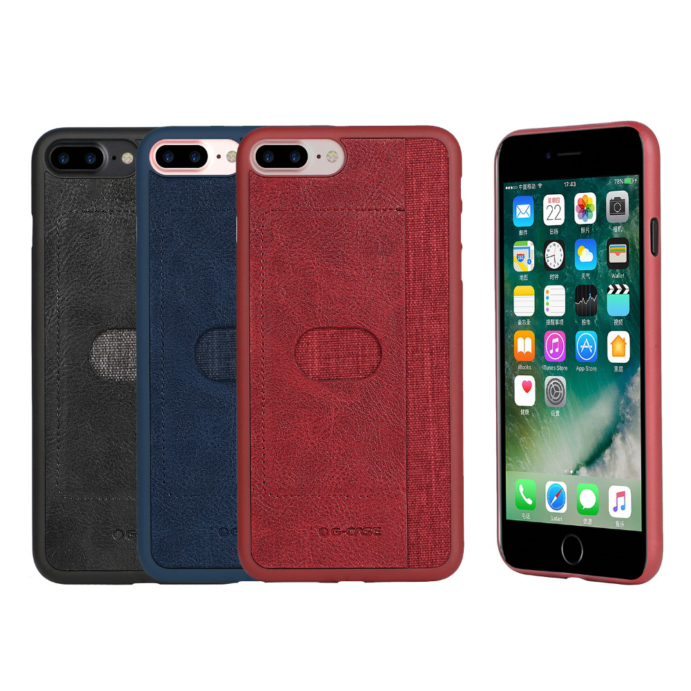GCase Canvas Case PU Leather For iPhone 7 Plus/8 Plus Anti-knock Back Cover With Card Holder Mobile Phone Cases +Tracking Number