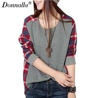 Donnalla Women T Shirts Casual Crew Neck T Shirt Tops Spring Autumn Warm Patchwork Plaid Check
