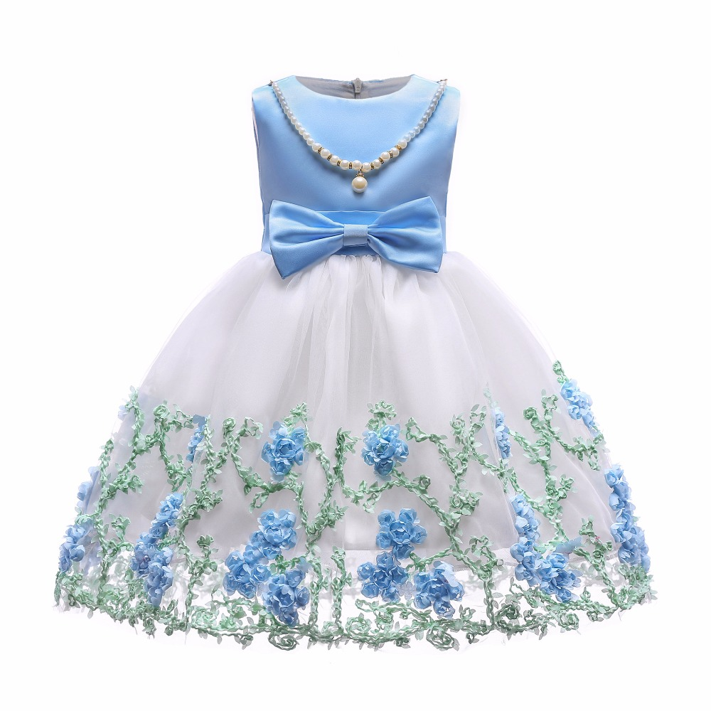 Children Flower Girls Dress Princess Kids Dress with Bow Summer Flower Girls Wedding Party Clothes Kids Prom Gowns with Necklace contrast pu grommet detail dress with necklace