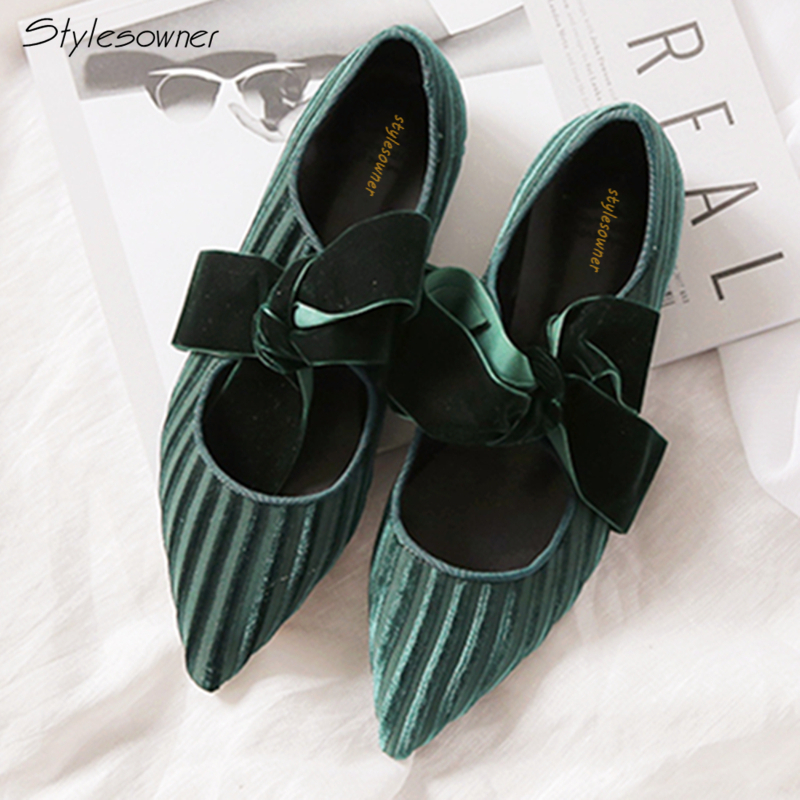 Stylesowner Velvet Laces Knot Women Shoes Hot Sale Women Flats Shallow Mouth Flat Shoes Name Brand Single Women Shoes 2018 New e hot sale wholesale 2015 new women fashion leopard flat shallow mouth shoes lady round toe shoes