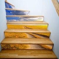 אפקט 3d DIY 3d ויניל טפט טפט PVC נשלף ויניל מדבקות קיר טפט דביק מדרגות קישוט Stairway