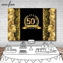 Sansfunラグジュアリーキラキラキラハッピー50歳の誕生日の背景写真スタジオゴールド風船キラキラブラック背景7x5フィートビニール