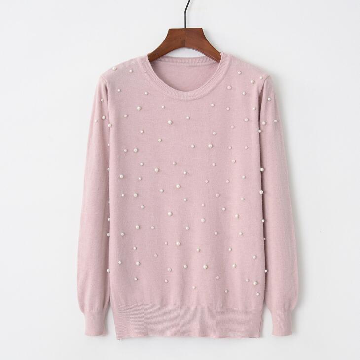 Весенний женский свитер с длинным рукавом жемчужный Бисероплетение круглый вырез вязаный джемпер жемчужные пуловеры