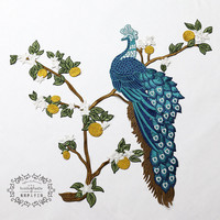 Gold Phoenix Embroidered Patch Sequined Peacock Applique Fabric Apparel Flower Fabric Patches for Qipao Dress Ethnic Clothes Diy